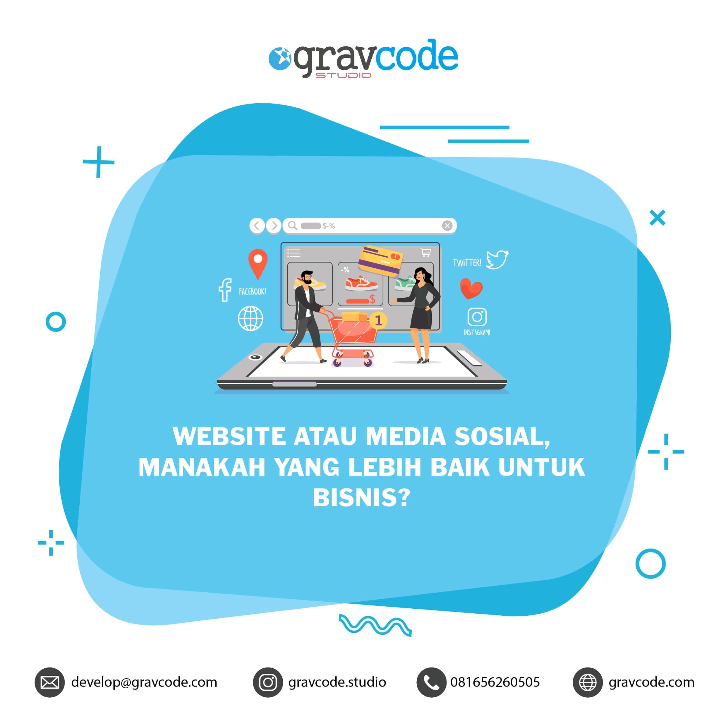 visualisasi website bisnis vs media sosial